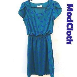 ModCloth peach love oh my gosh dinosaur dress